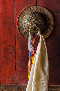 Door handle of gates of Thiksey gompa (Tibetan Buddhist monastery). Ladakh, India