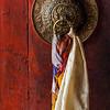 Door handle of gates of Thiksey gompa (Tibetan Buddhist monastery). Ladakh, India