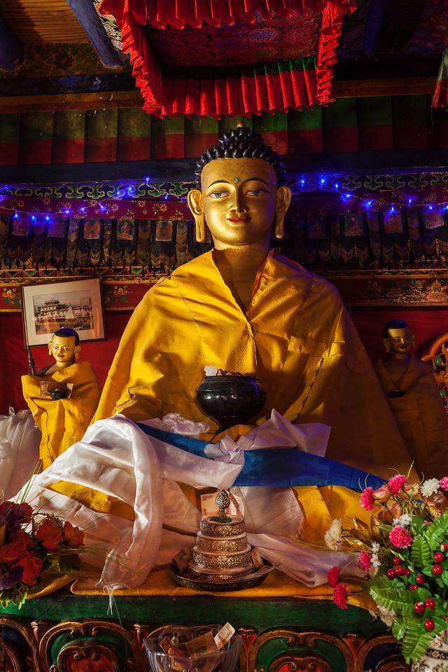 Buddha Sakyamuni statue in Spituk Gompa , Ladakh, India