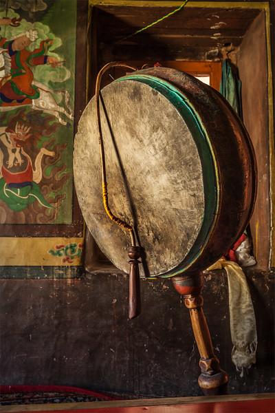 Gong in Lamayuru gompa, Ladakh, India