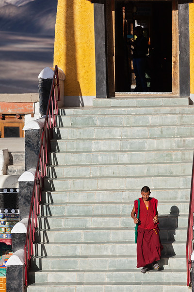 Tibetan Buddhist  monk in Thiksey monastery, Ladakh, India