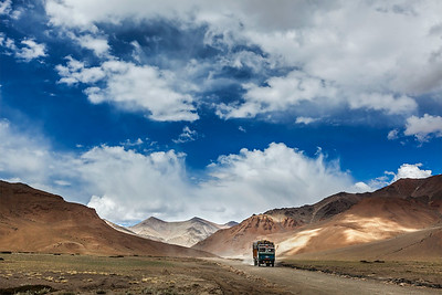 Indian lorry on Trans-Himalayan Manali-Leh highway in Himalayas. Ladakh, India