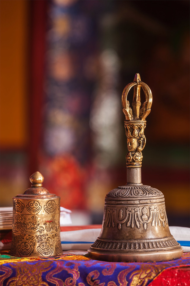 Tibetan Buddhits ceremony bell in Spituk Gompa. Ladakh, India