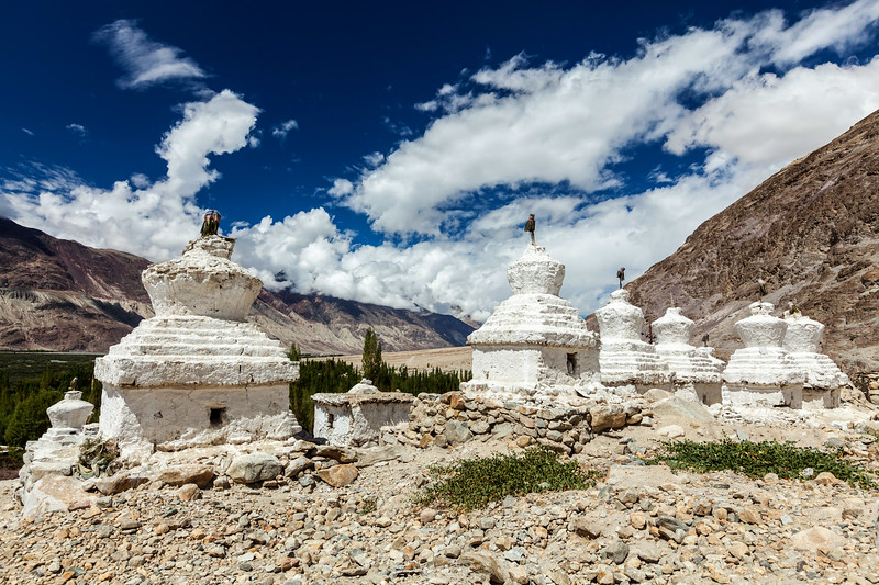 Whitewashed chortens (Tibetan Buddhist stupas). Nubra valley, Ladakh, India