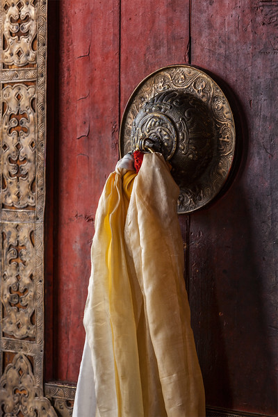 Door handle of gates of Thiksey gompa,  Ladakh, India