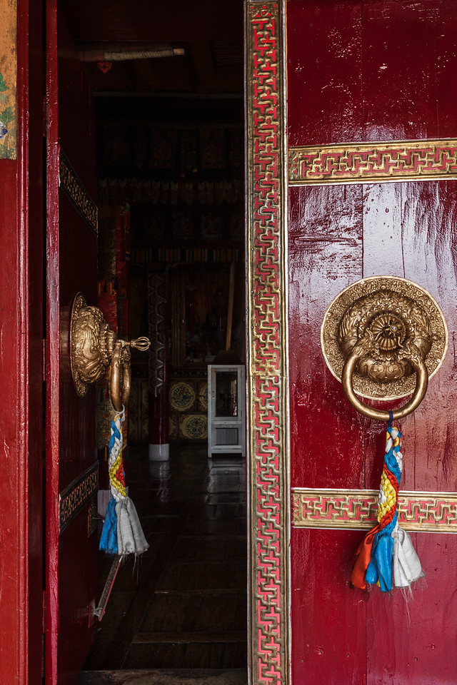 Door of Spituk monastery. Ladakh, India