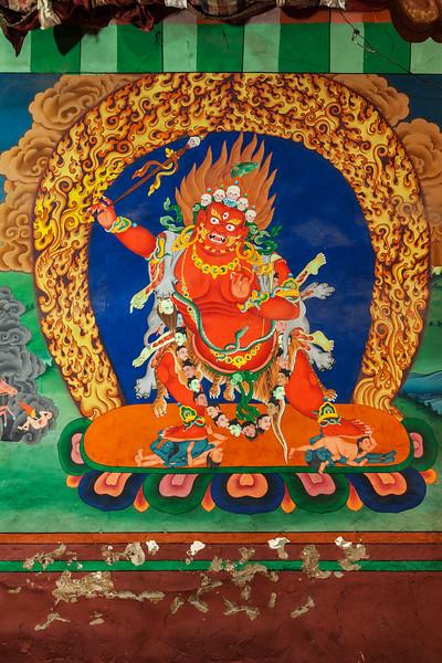 Wall painting in Hemis monastery. Ladakh, India