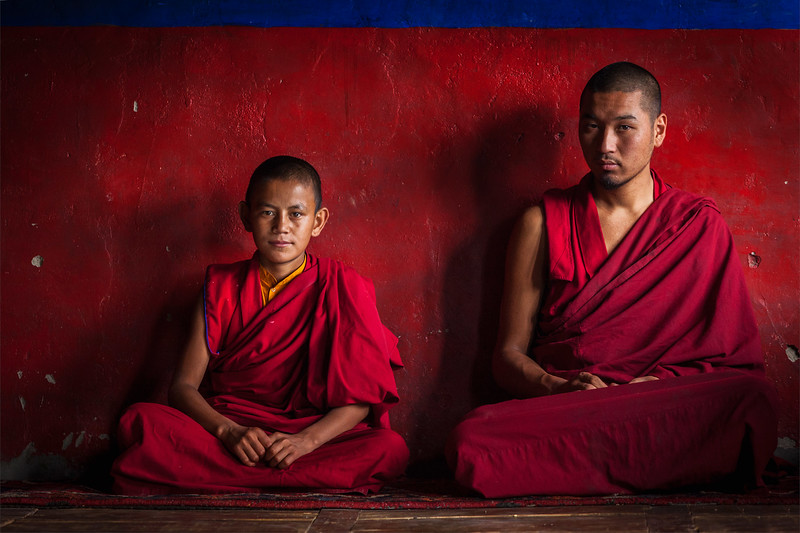 Tibetan Buddhist monks in Diskit monastery. Nubra valley, Ladakh, India