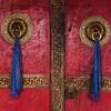 Door handles of Spituk monastery. Ladakh, India