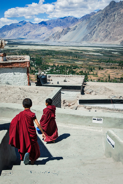 Children monks in Diskit Gompa