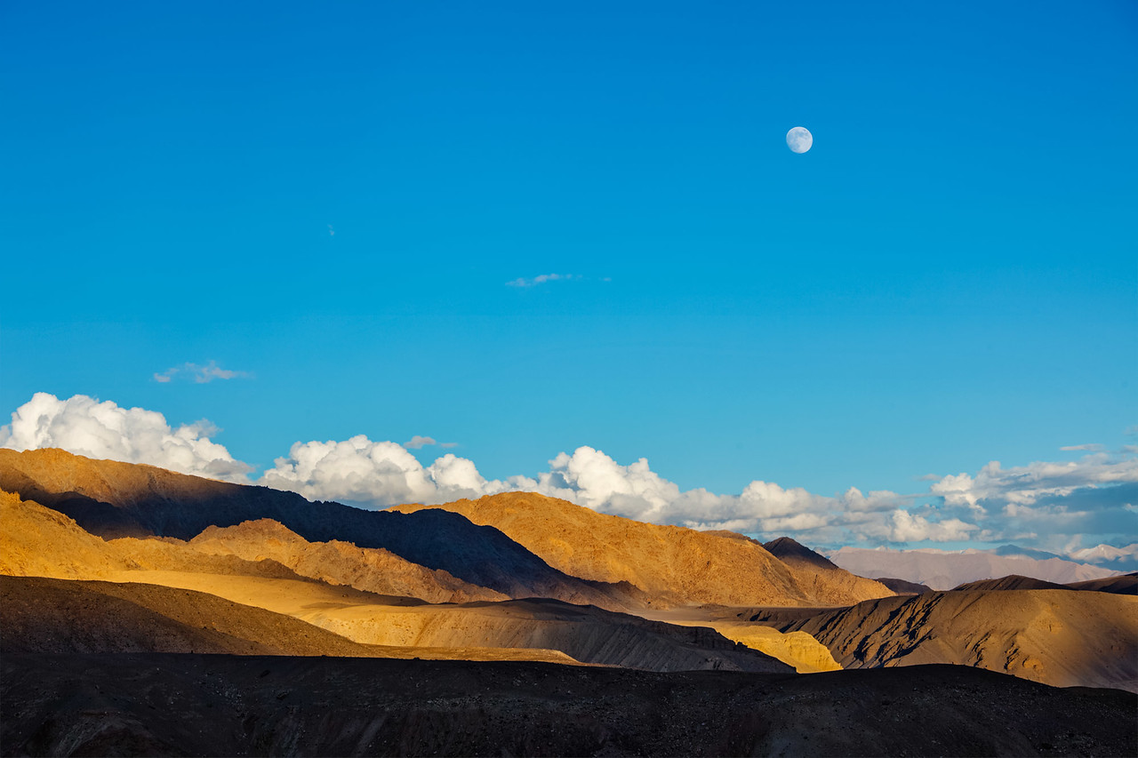 Moonrise in Himalayas. Ladakh, India