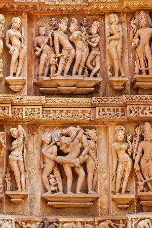 Famous erotic stone carving sculptures, Lakshmana  Temple, Khajuraho, India. Unesco World Heritage Site