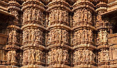Famous stone carving sculptures, Kandariya Mahadev Temple, Khajuraho, India. Unesco World Heritage Site