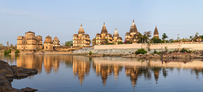 Panorama of Royal cenotaphs of Orchha over Betwa river. Orchha, Madhya Pradesh, India