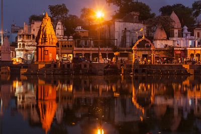 Ghats of holy Kshipra river in Ujjain, Madhya Pradesh, India in the evening