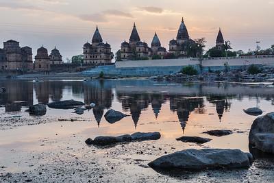 View of Royal cenotaphs of Orchha over Betwa river. Orchha, Madhya Pradesh, India