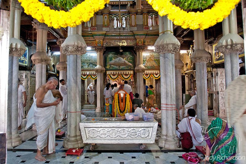 Worshipers at a Jain Temple in Mumbai, India.