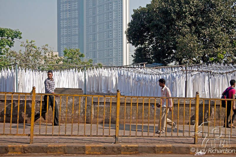 Lots of white garments hanging out to dry in the laundry of Mumbai, India.