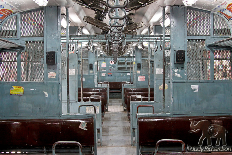 Inside an empty train in Victoria Terminus on a Sunday morning in Mumbai, India.