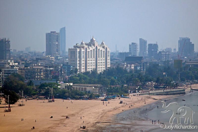 Chowpatty Beach on a Sunday in Mumbai, India.