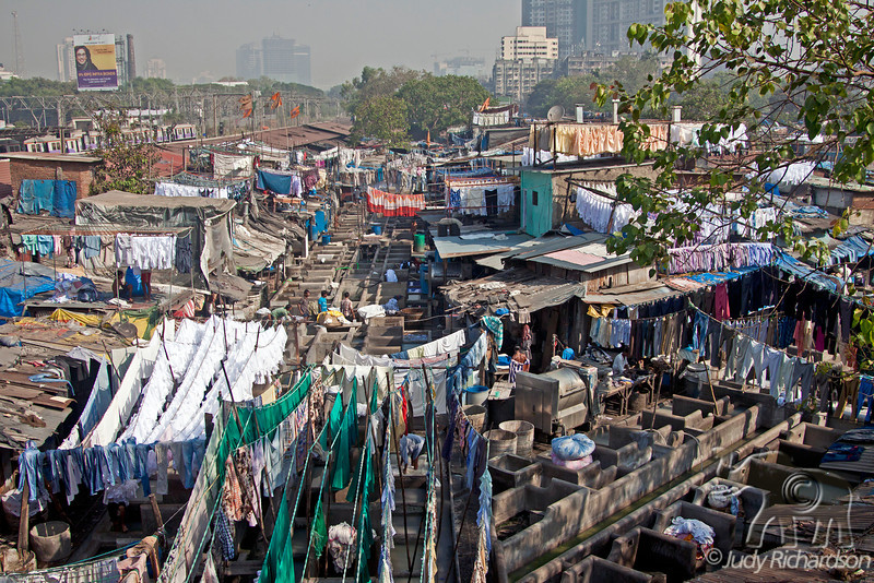 Dhobi Ghat is a well known open air laundromat in Mumbai, India.