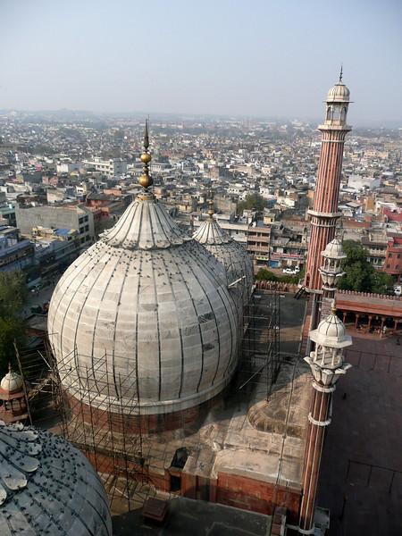 View from a minaret at Jama Masjid Mosque in Chandi Chowk, Delhi