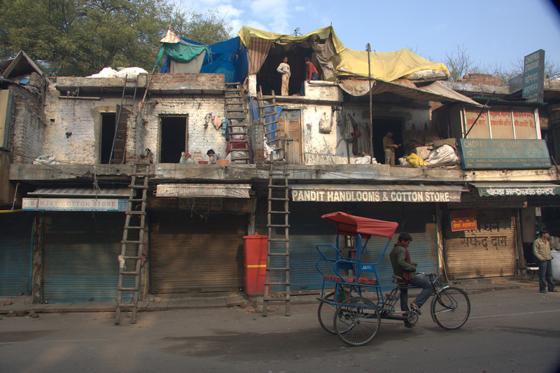 shops and homes, in the Paharganj area, New Delhi