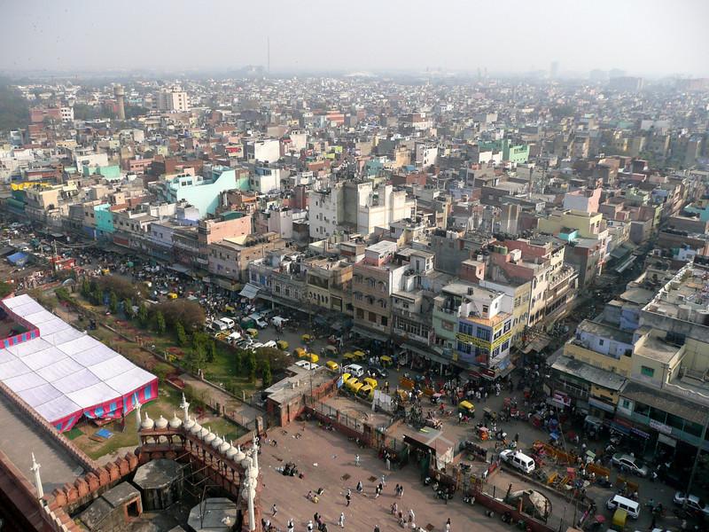 View from a minaret Jama Masjid Mosque in Chandi Chowk, Delhi