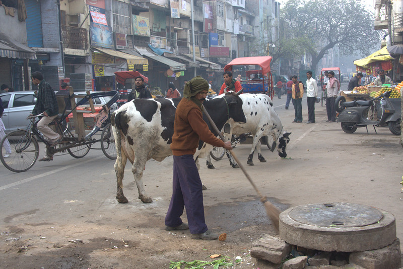 sweeping up seems like an impossible task!   in the Paharganj area, New Delhi
