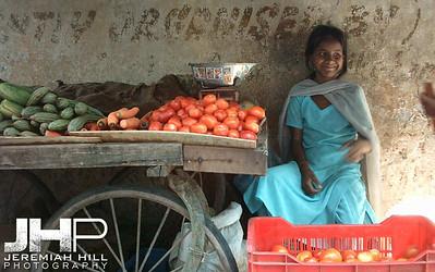 """Rishikesh Vegetable Stall Girl"", Rishikesh, Uttaranchal, India, 2005 Print INDIA11-211V3"