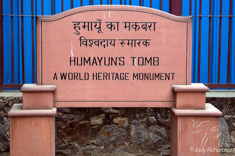 Humayun's Tomb sign