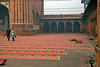Worship mats at Jama Masjid Mosque ready for Friday services