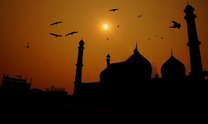 Jama Masjid silhouette in Old Delhi, India