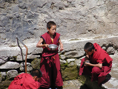 Washing up post lunch at Thiksey Monastery.