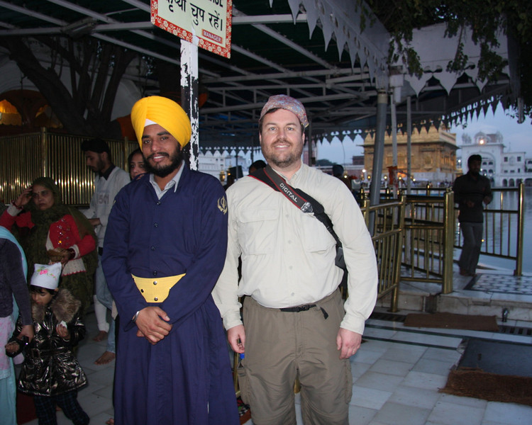 Keith with his scarf at the Temple. Amritsar, The Punjab,An interesting town, made special by the lovely Sikh Golden Temple