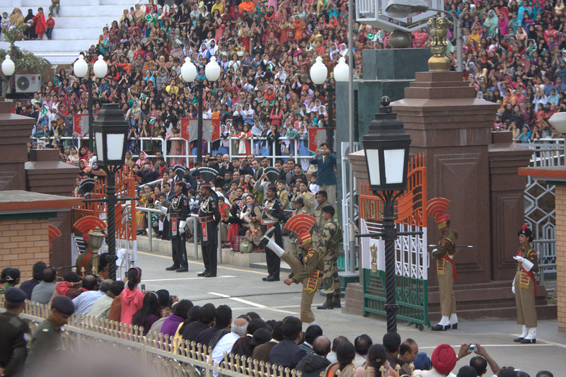 high stepping is just part of the ceremony. Pakistan ceremony team is dressed in black with the same type of head dress. The Wagah crossing s only about 40mins from Amritsar and great fun. Get there early for the ceremony.