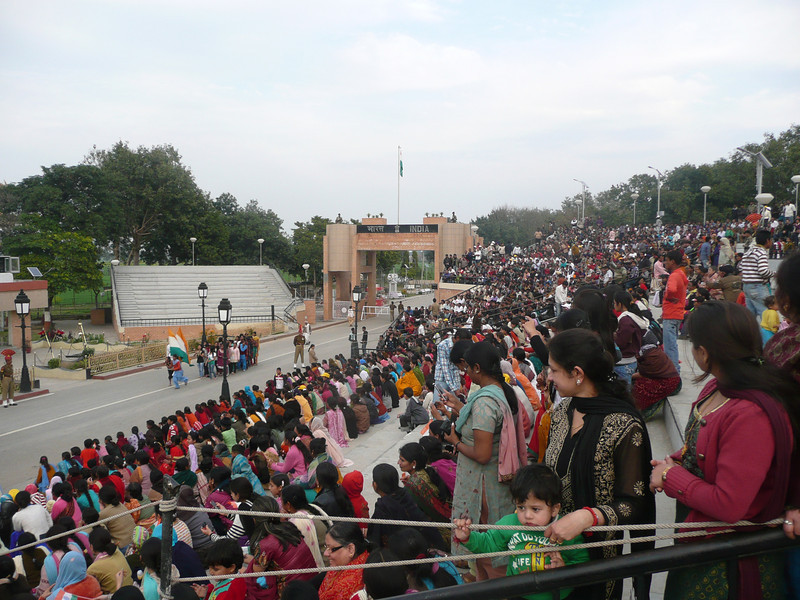 the stands are full and the fun is only starting, the warm-up man is now in full swing in ramp-ping up the crowd. The Wagah crossing s only about 40mins from Amritsar and great fun. Get there early for the ceremony.