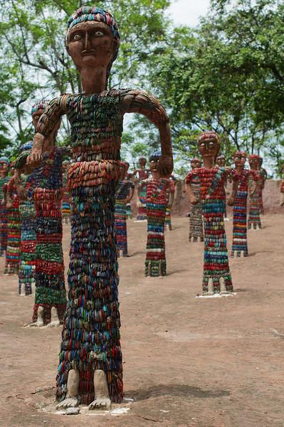 Sculptures in the Nek Chand Rock Garden made from broken bangles