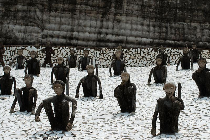 Monkey sculptures in the Nek Chand Rock Garden