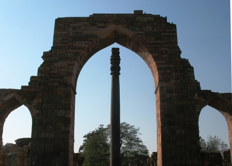 """Iron Pillar (read below)<br /> <br /> This pillar is one of the foremost metallurgical wonders of the world. It stands about 22 feet high and weighs more than 6 tons!! <br /> <br /> """"It was allegedly erected at the time of Chandragupta II Vikramaditya (375–413), though other authorities give dates as early as 912 BCE. It is the only remaining piece of a Hindu and Jain temple complex which stood there before being destroyed by Qutb-ud-din Aybak who built around it when he constructed the Qutub Minar and Quwwat-ul-Islam mosque.<br /> <br /> The pillar is 98% wrought iron of pure quality, and is a testament to the high level of skill achieved by ancient Indian ironsmiths. It has attracted the attention of both archaeologists and metallurgists, as it has withstood corrosion for 1600 years, despite harsh weather.""""<br /> <br /> <a href=""""http://en.wikipedia.org/wiki/Iron_pillar_of_Delhi"""">http://en.wikipedia.org/wiki/Iron_pillar_of_Delhi</a>"""