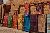 Rajasthani textiles line the streets.