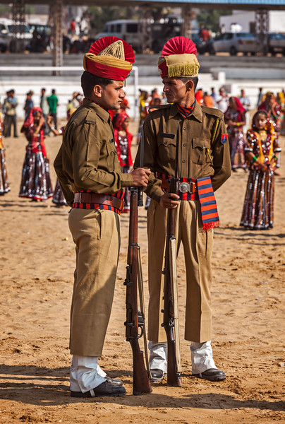 Indian policemen in full dress at Pushkar Mela (Camel Fair) in Pushar. Pushkar, Rajasthan, India