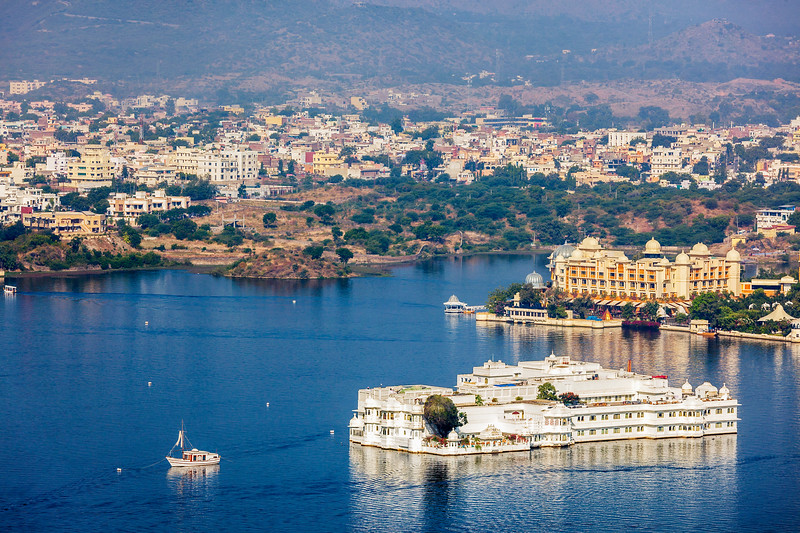 Aerial view of Lake Pichola with Lake Palace (Jag Niwas)