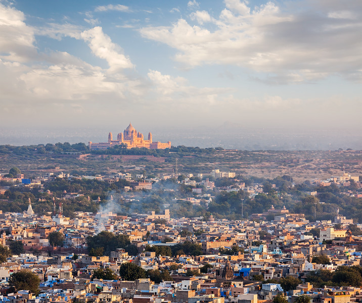 Aerial view of Jodhpur - the blue city. Rajasthan, India