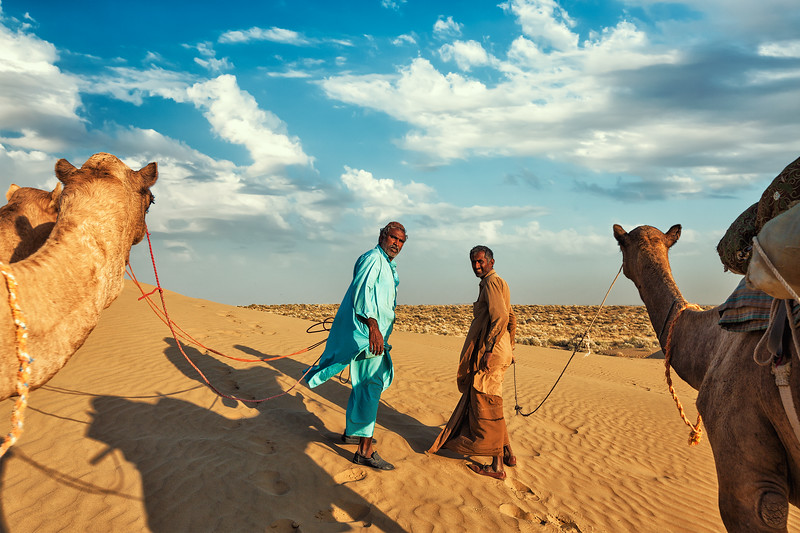 Two cameleers (camel drivers) with camels in dunes of Thar desert. Rajasthan, India