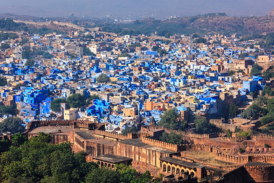 Aerial view of Jodhpur Blue City. Jodphur, Rajasthan, India