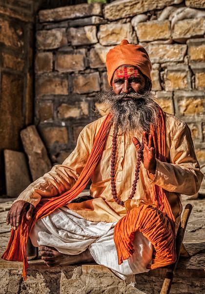 Indian sadhu (holy man) blessing
