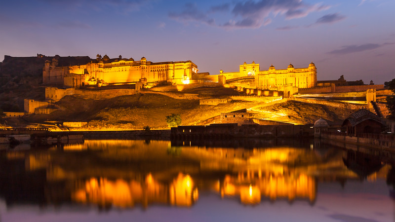 Amer Fort (Amber Fort) at night in twilight.  Jaipur, Rajastan, India