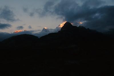 Kangchenjunga range at sunrise from Dzongri.  Kabur in foreground.