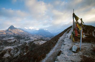 Kangchenjunga range at sunrise from Dzongri with prayer flags and Kabur in foreground.